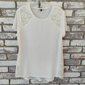 Express Lace Trim Short Sleeve Blouse